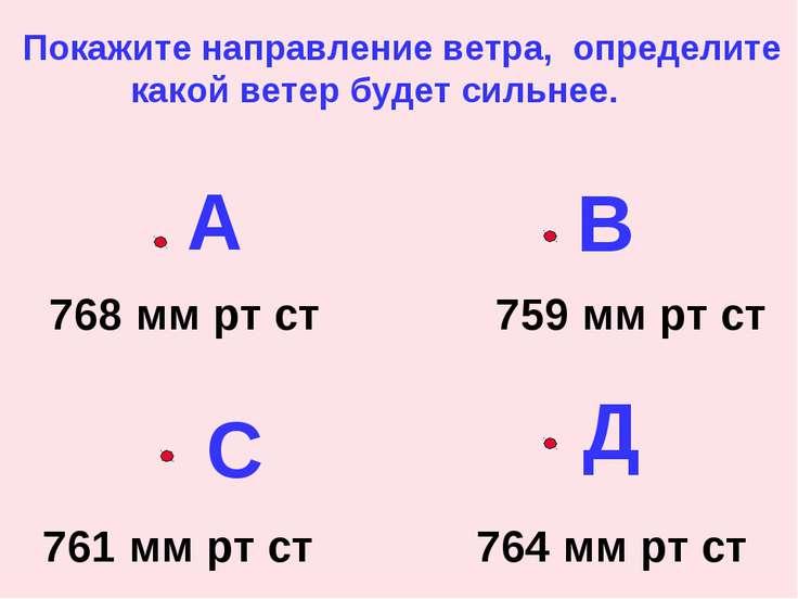 А В С Д 768 мм рт ст 759 мм рт ст 761 мм рт ст 764 мм рт ст Покажите направле...