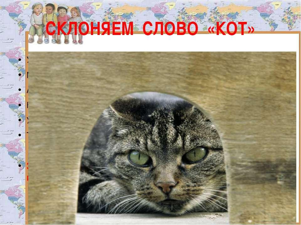 СКЛОНЯЕМ СЛОВО «КОТ» У норы добычи ждёт, притаившись, серый Мышь осталась без...