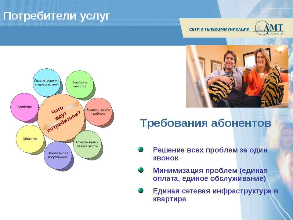 Потребители услуг Решение всех проблем за один звонок Минимизация проблем (ед...