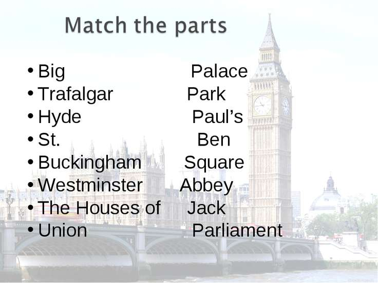 Big Palace Trafalgar Park Hyde Paul's St. Ben Buckingham Square Westminster A...
