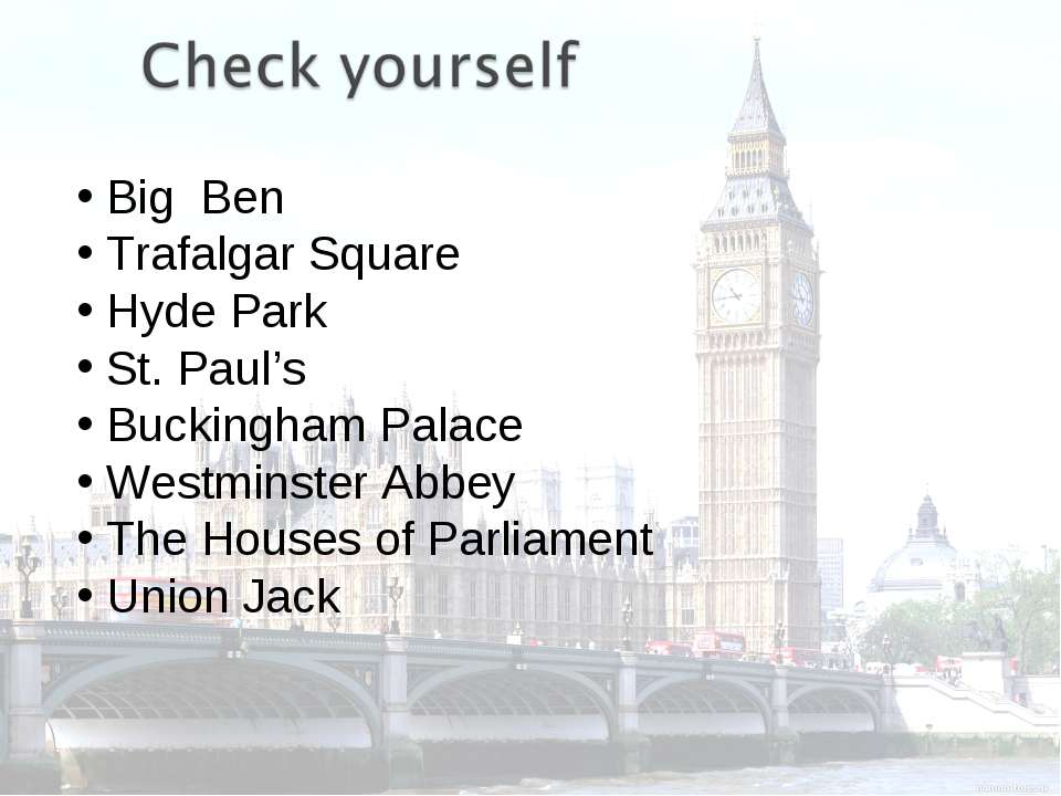 Big Ben Trafalgar Square Hyde Park St. Paul's Buckingham Palace Westminster A...
