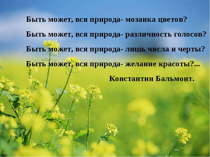Быть может, вся природа- мозаика цветов? Быть может, вся природа- различность...