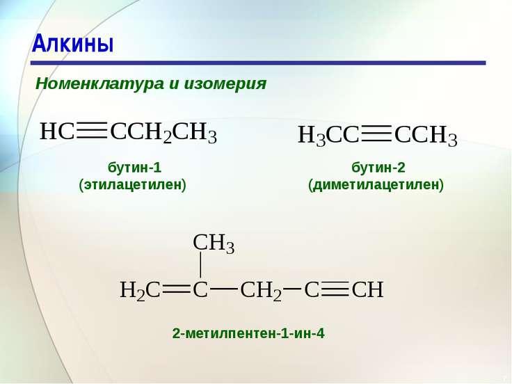 * Алкины Номенклатура и изомерия бутин-1 (этилацетилен) бутин-2 (диметилацети...