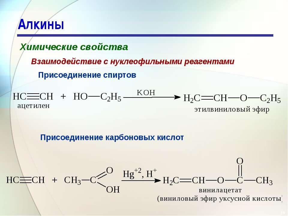 * Алкины Химические свойства Присоединение спиртов Взаимодействие с нуклеофил...