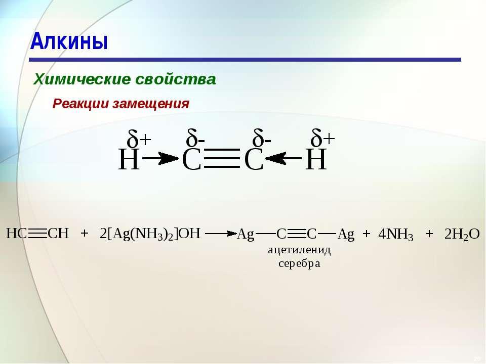 * Алкины Химические свойства Реакции замещения