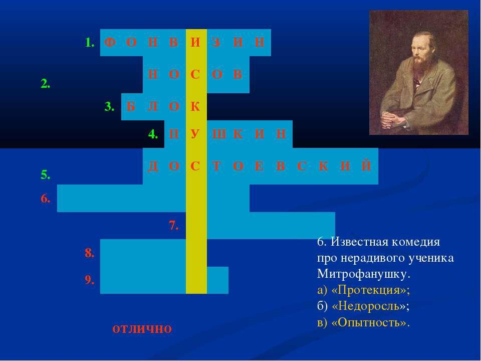 6. Известная комедия про нерадивого ученика Митрофанушку. а) «Протекция»; б) ...