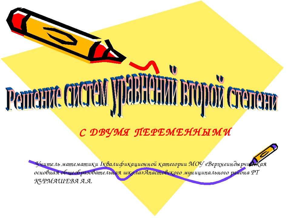 Учитель математики Iквалификационной категории МОУ «Верхнеиндырчинская основн...