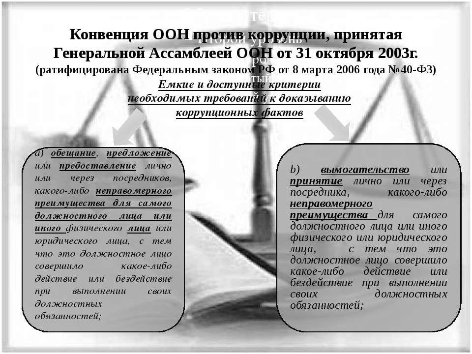 Конвенция ООН против коррупции, принятая Генеральной Ассамблеей ООН от 31 окт...