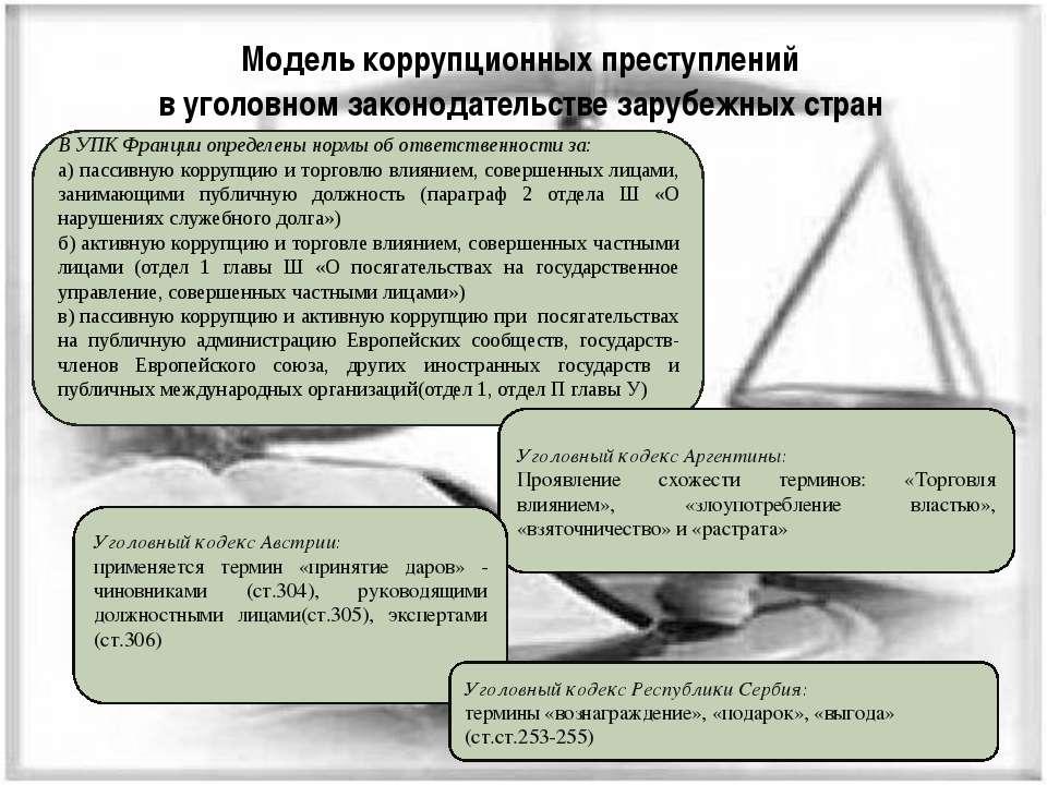 Модель коррупционных преступлений в уголовном законодательстве зарубежных стр...