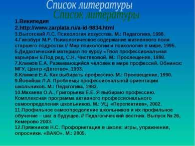1.Википедия 2.http://www.zarplata.ru/a-id-9834.html 3.Выготский Л.С. Психолог...