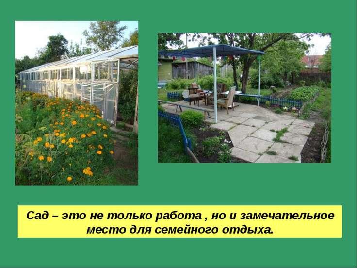 Сад – это не только работа , но и замечательное место для семейного отдыха.