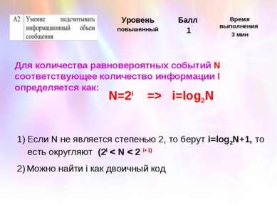 Для количества равновероятных событий N соответствующее количество информации...