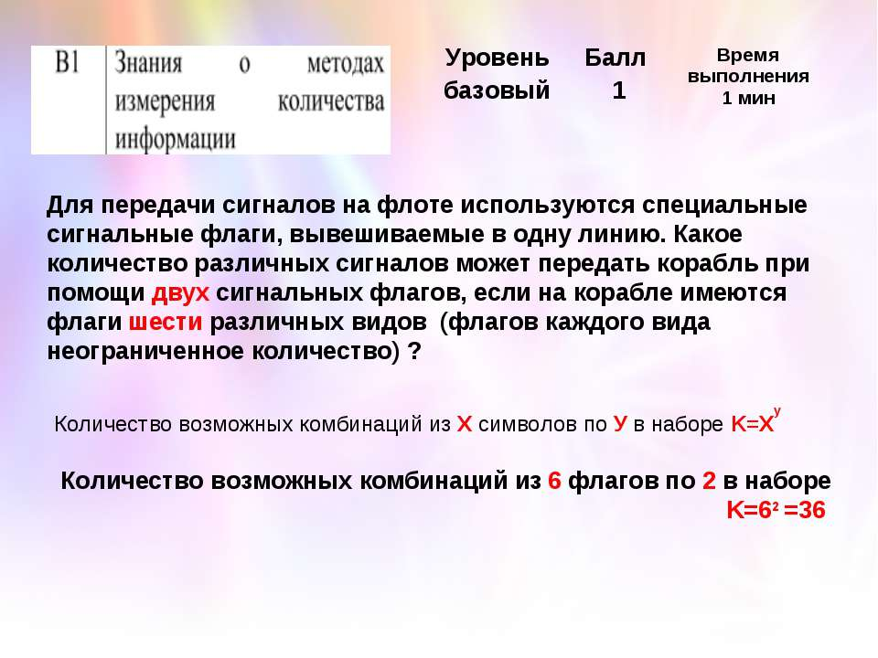 Количество возможных комбинаций из Х символов по У в наборе K=Xy Для передачи...