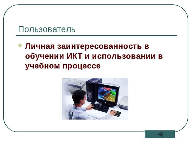 * Пользователь Личная заинтересованность в обучении ИКТ и использовании в уче...
