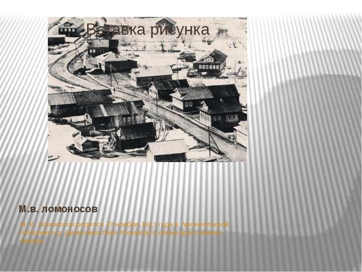 М.в. ломоносов М. В. Ломоносов родился 19 ноября 1911 года в Архангельской гу...