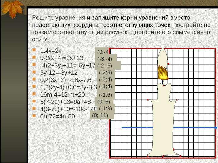 Решите уравнения и запишите корни уравнений вместо недостающих координат соот...