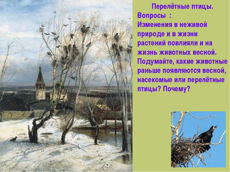 Перелётные птицы. Вопросы : Изменения в неживой природе и в жизни растений по...