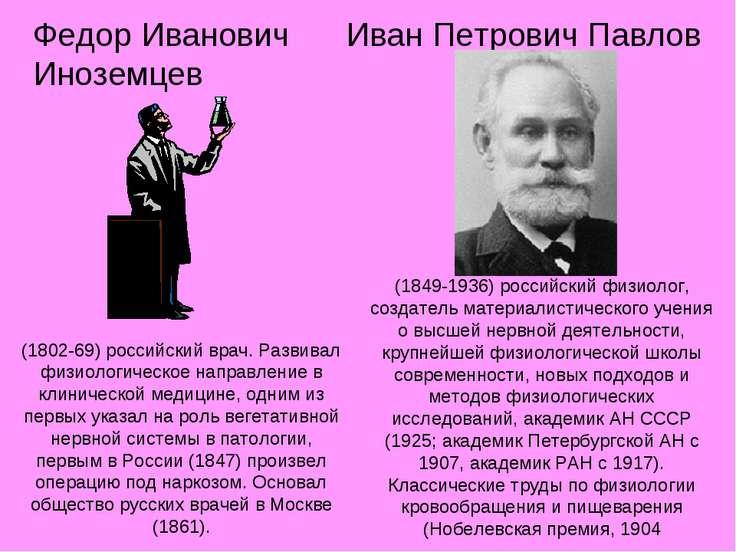 Иван Петрович Павлов (1802-69) российский врач. Развивал физиологическое напр...
