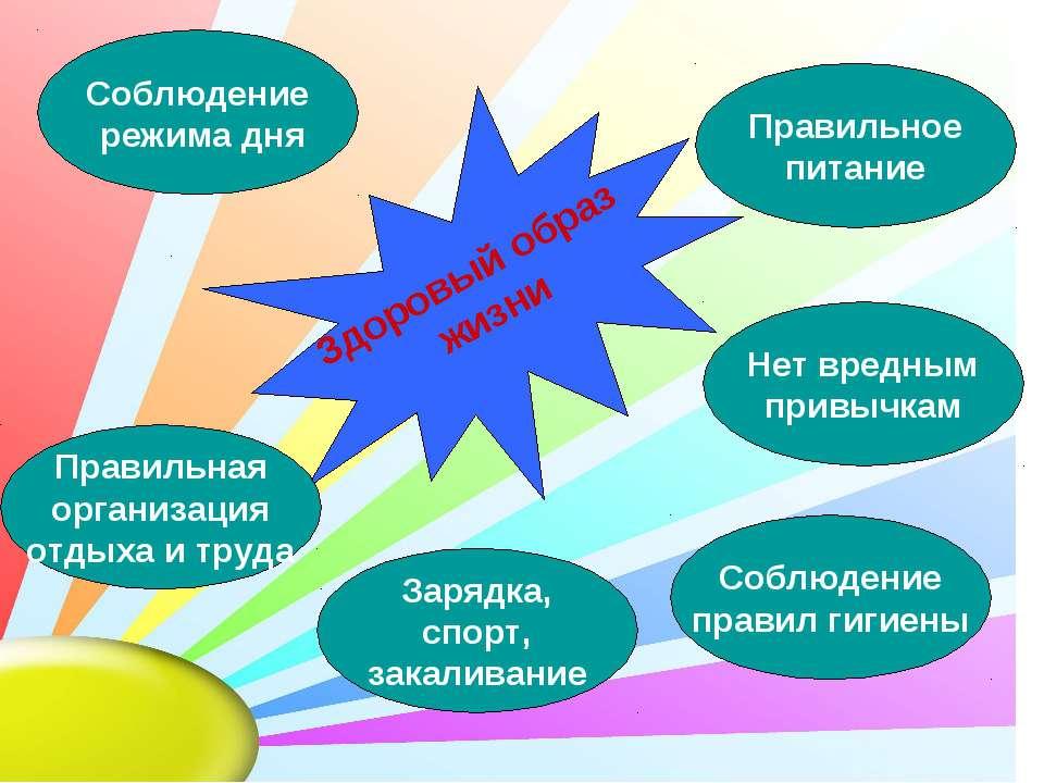 Здоровый образ жизни Правильное питание Соблюдение режима дня Правильная орга...