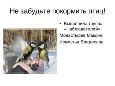 Не забудьте покормить птиц! Выполнила группа «Наблюдателей» Монастырев Максим...
