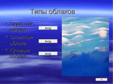 Типы облаков Перистые облака Слоистые облака Кучевые облака вход вход вход