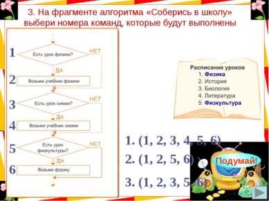 3. На фрагменте алгоритма «Соберись в школу» выбери номера команд, которые бу...