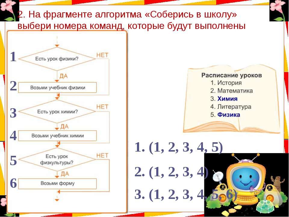 2. На фрагменте алгоритма «Соберись в школу» выбери номера команд, которые бу...