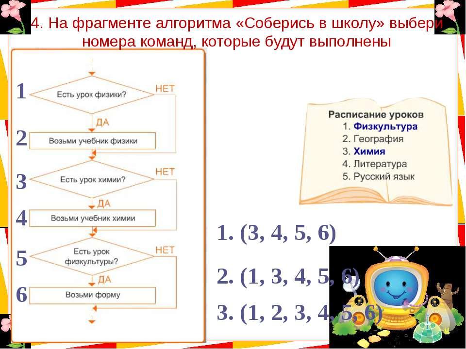 4. На фрагменте алгоритма «Соберись в школу» выбери номера команд, которые бу...