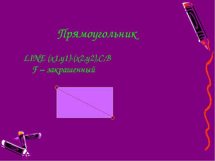 Прямоугольник LINE (x1,y1)-(x2,y2),C,B F – закрашенный