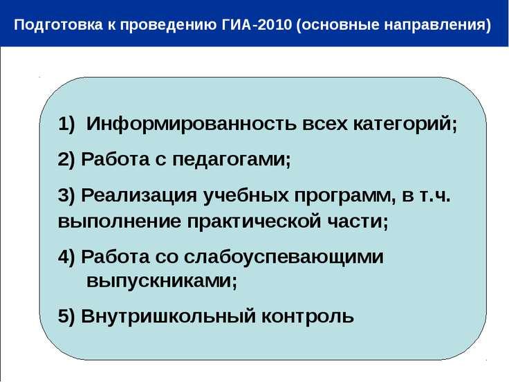 Подготовка к проведению ГИА-2010 (основные направления) Информированность все...