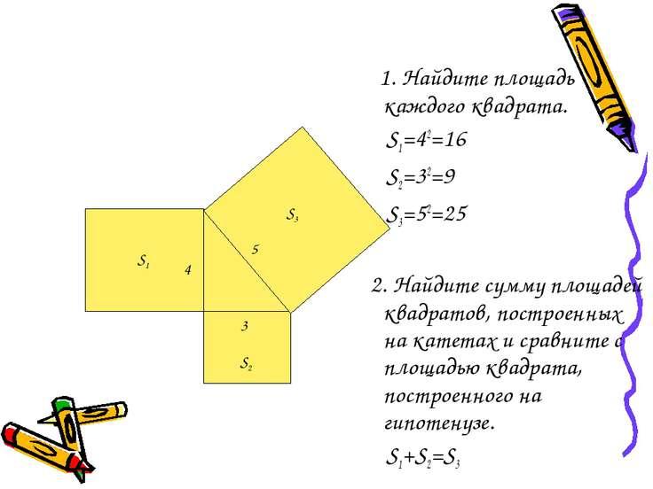 1. Найдите площадь каждого квадрата. S1=42=16 S2=32=9 S3=52=25 2. Найдите сум...