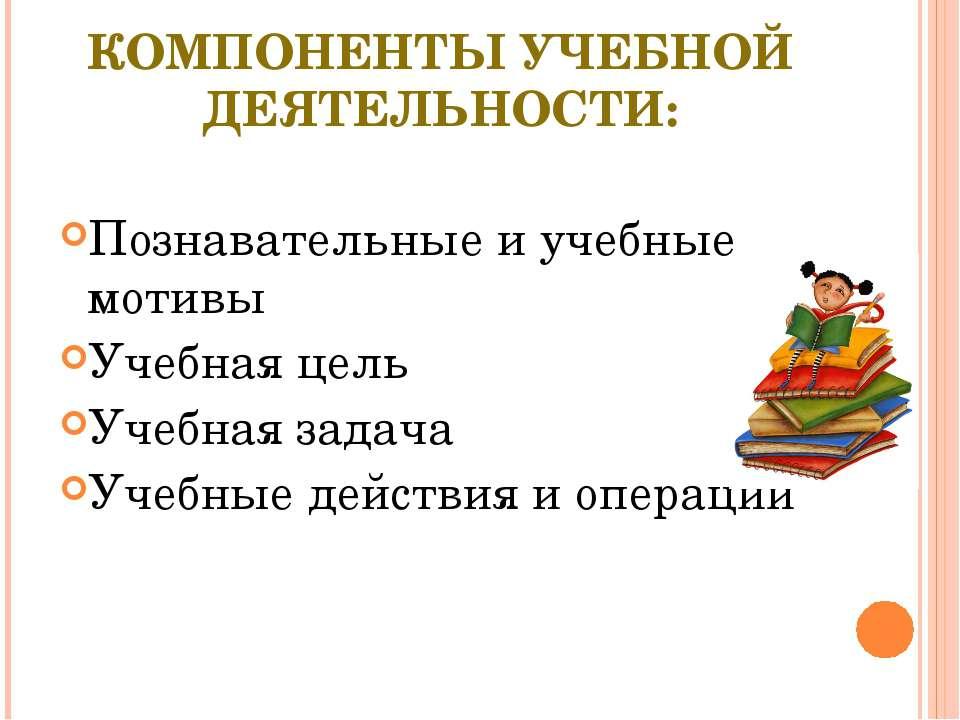 КОМПОНЕНТЫ УЧЕБНОЙ ДЕЯТЕЛЬНОСТИ: Познавательные и учебные мотивы Учебная цель...
