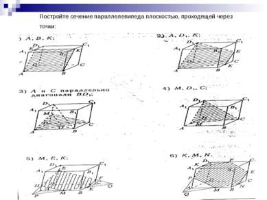 Постройте сечение параллелепипеда плоскостью, проходящей через точки: