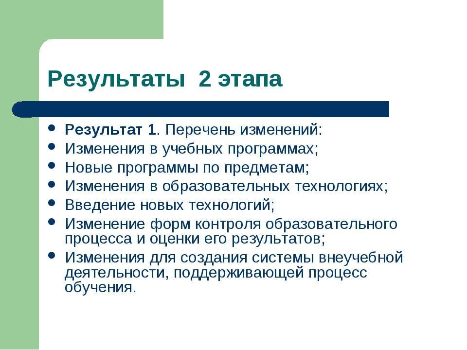 Результаты 2 этапа Результат 1. Перечень изменений: Изменения в учебных прогр...
