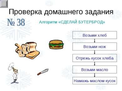 Проверка домашнего задания Алгоритм «СДЕЛАЙ БУТЕРБРОД» Намажь маслом кусок
