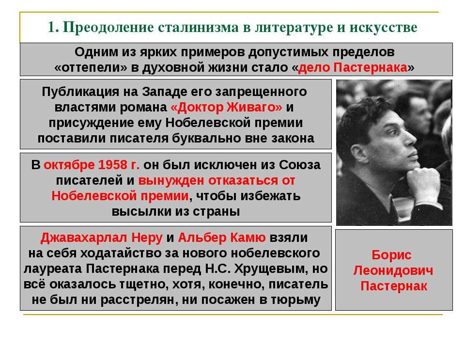 1. Преодоление сталинизма в литературе и искусстве Одним из ярких примеров до...