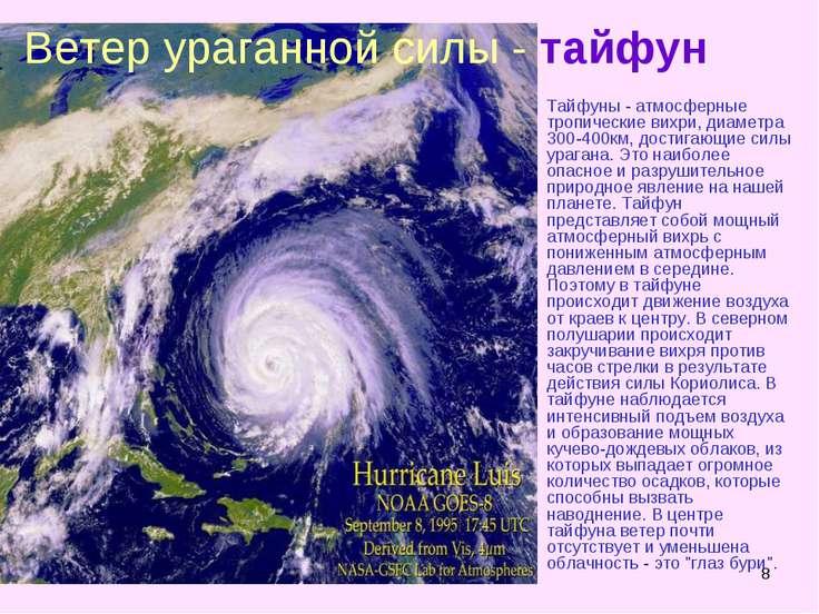 * Тайфуны - атмосферные тропические вихри, диаметра 300-400км, достигающие си...