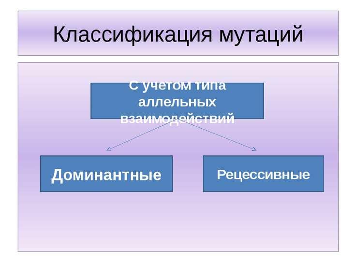 Классификация мутаций С учетом типа аллельных взаимодействий Доминантные Реце...