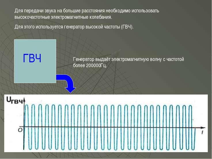 Для передачи звука на большие расстояния необходимо использовать высокочастот...