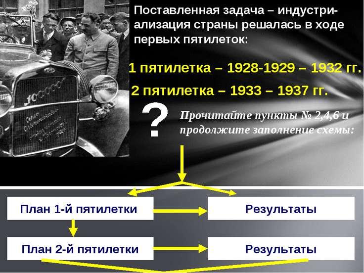 Поставленная задача – индустри-ализация страны решалась в ходе первых пятилет...