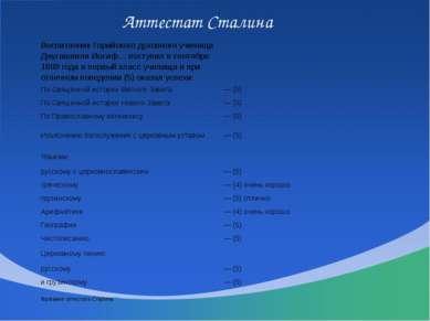 Аттестат Сталина ВоспитанникГорийскогодуховного училища Джугашвили Иосиф… пос...