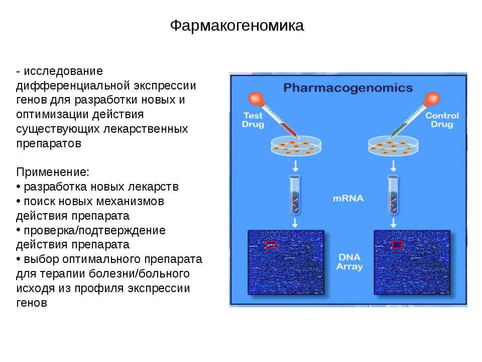 Фармакогеномика - исследование дифференциальной экспрессии генов для разработ...