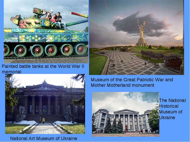 Painted battle tanks at the World War II memorial Museum of the Great Patriot...