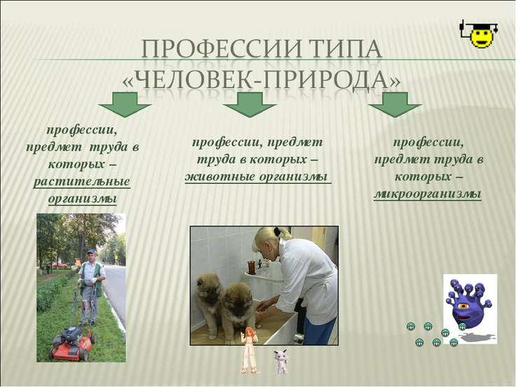 профессии, предмет труда в которых –растительные организмы профессии, предмет...