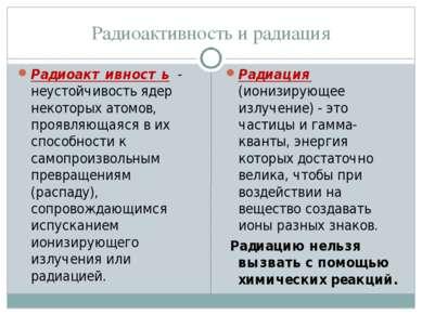 Радиоактивность и радиация Радиоактивность - неустойчивость ядер некоторых ат...