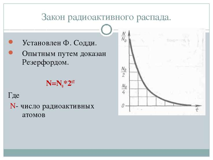 Закон радиоактивного распада. Установлен Ф. Содди. Опытным путем доказан Резе...