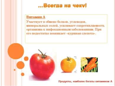 Витамин А Участвует в обмене белков, углеводов, минеральных солей, усиливает ...