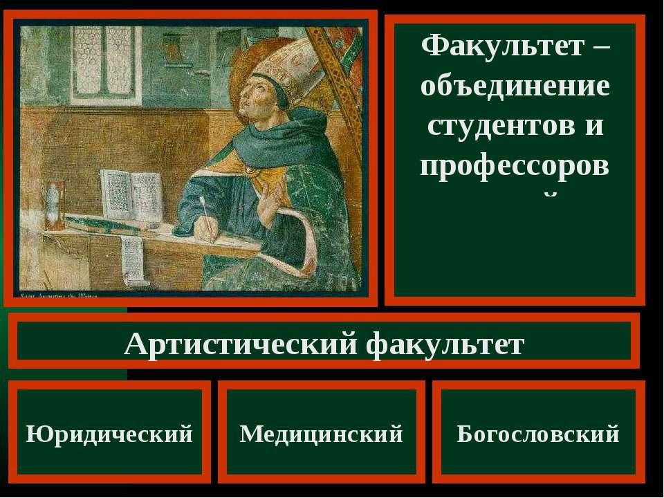 Факультет – объединение студентов и профессоров одной специальности Артистиче...