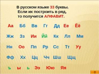 В русском языке 33 буквы. Если их построить в ряд, то получится АЛФАВИТ. Аа Б...