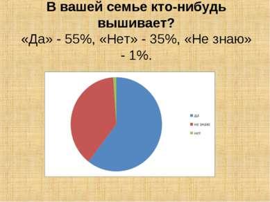 В вашей семье кто-нибудь вышивает? «Да» - 55%, «Нет» - 35%, «Не знаю» - 1%.